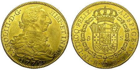 8 escudos u onza de carlos iii