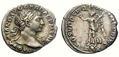 denario de trajano plata
