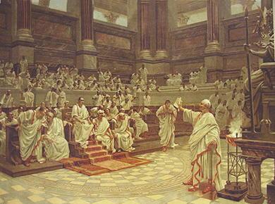 Senado romano con Domiciano